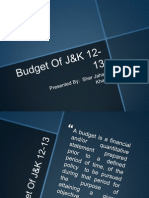Budget Of Jammu & Kashmir (J&K) 2012-13