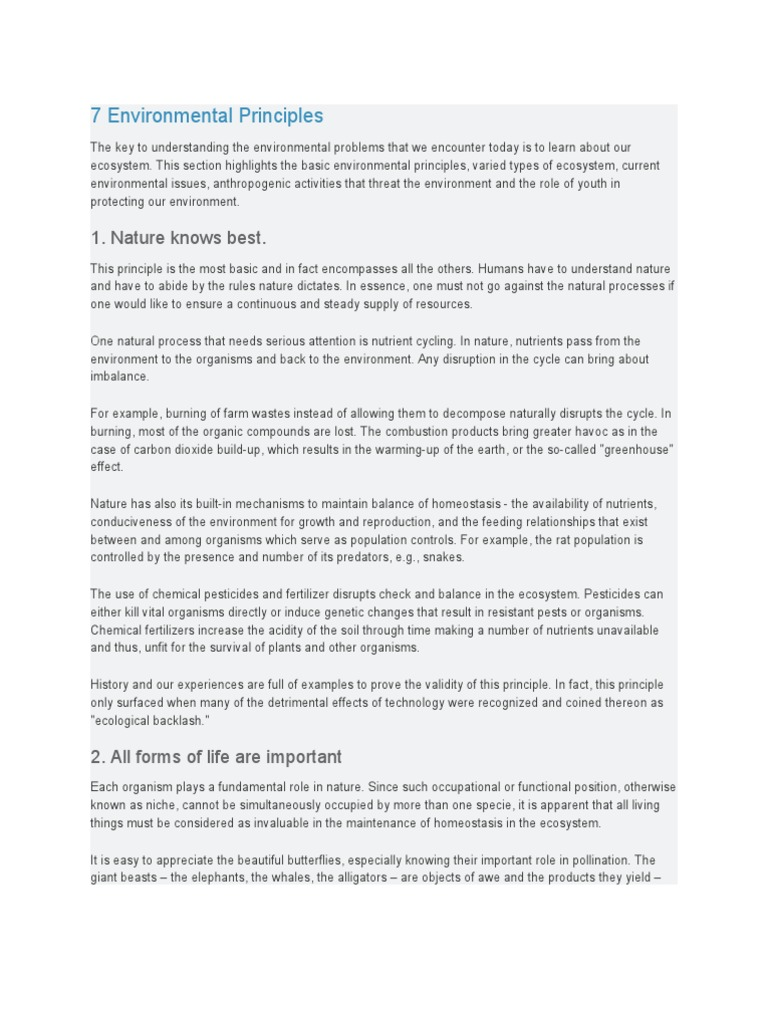 7 Environmental Principles | Resource | Ecosystem