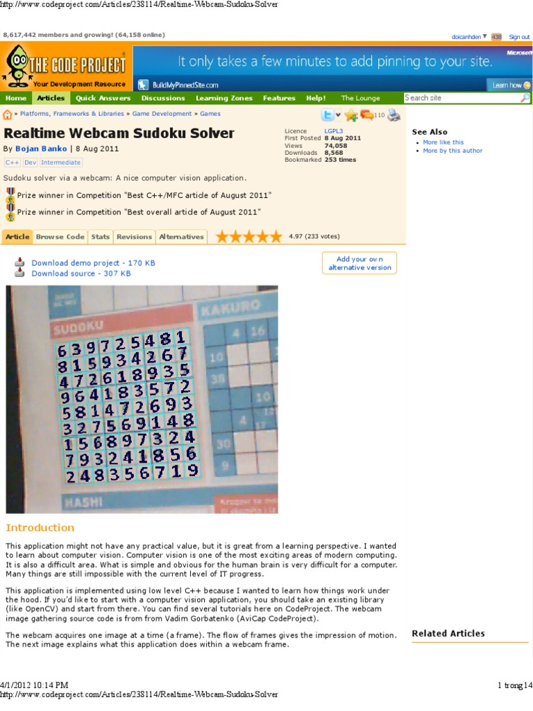 realtime webcam sudoku solver codeproject pixel image resolution