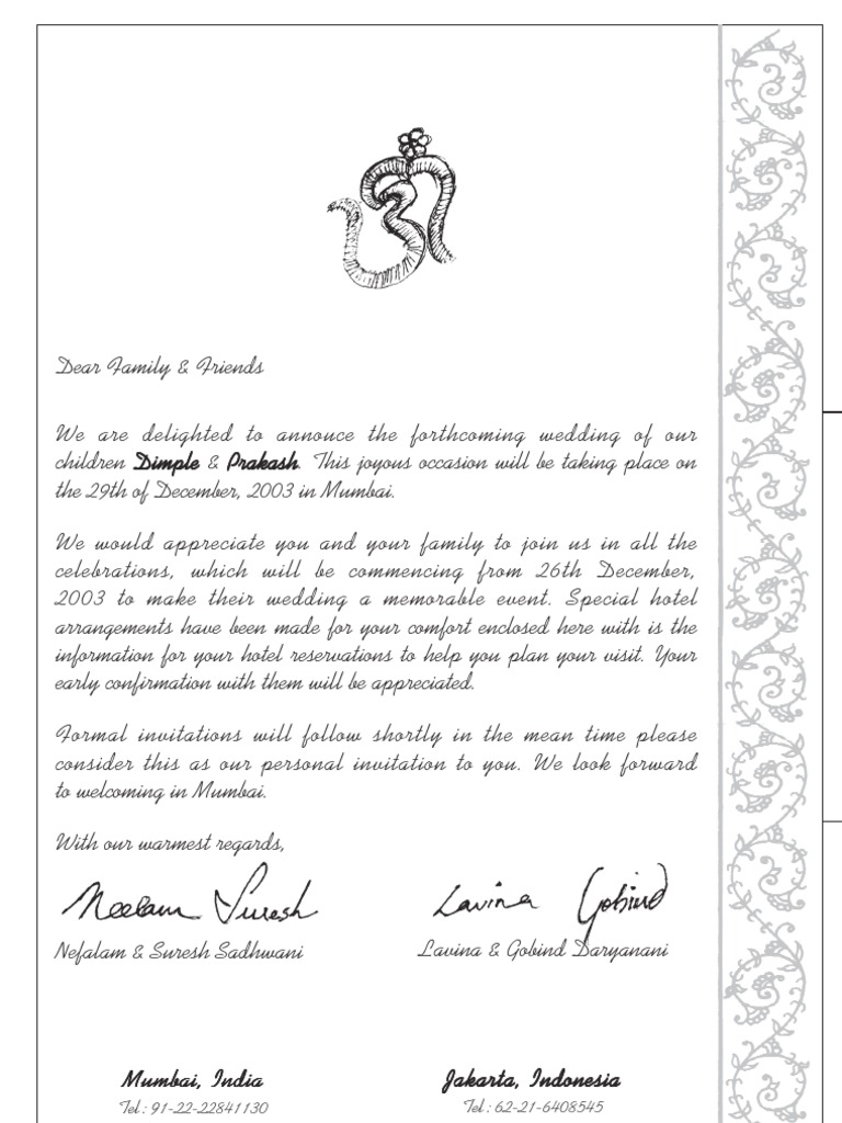 Pre Invitation Letter Format | Hotel And Accommodation | Tourism And ...