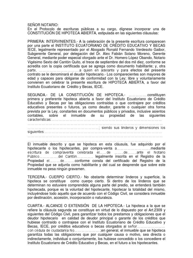 Modelo minuta hipoteca abierta for Contrato de hipoteca