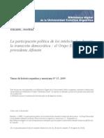 Elizalde Participacion Politica Intelectuales Durante Transicion