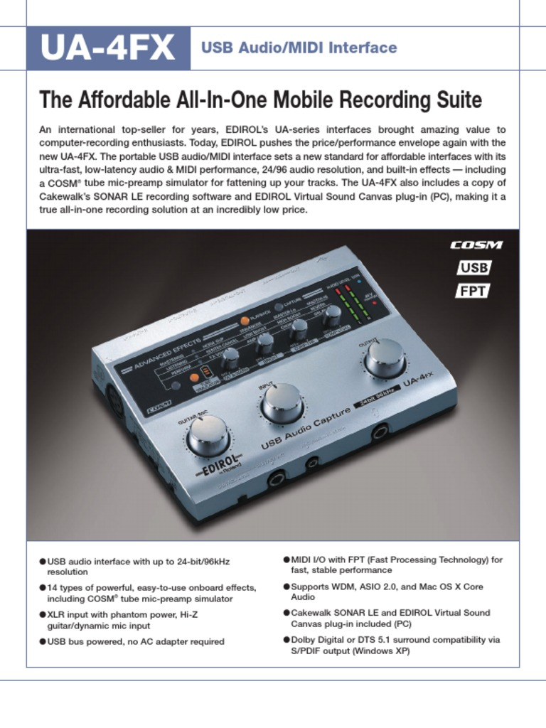 Ua 4fx Brochure Microphone Sound Recording And Reproduction Dynamic Mic Preamplifier
