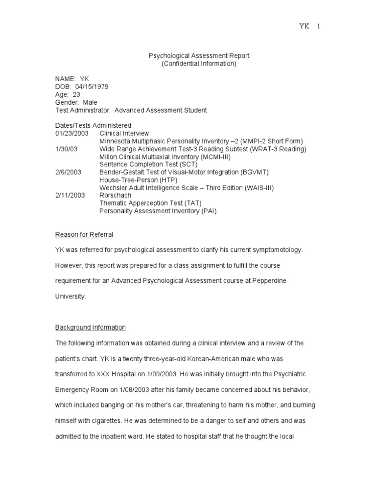 Sample Psych Report Wechsler Adult Intelligence Scale – Psychological Report