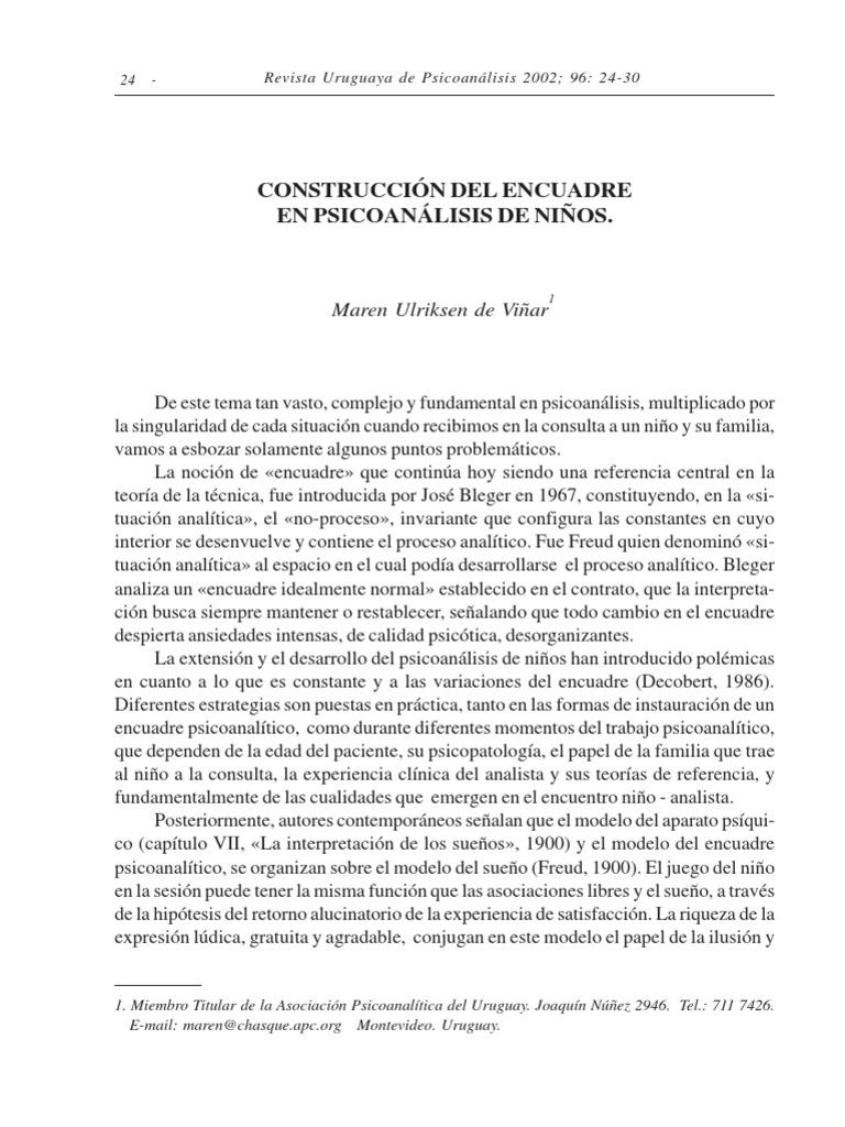 CONSTRUCCIÓN DEL ENCUADRE en psicoanalisis en niños