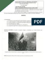 Examen PAU o selectividad de Historia de España de Junio 2012. Comunidad de Madrid