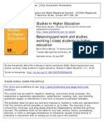 Balancing Paid Work and Studies Working Students in Higher Education 2007