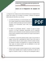 Métodos y procesos en la integración de equipos de trabajo.