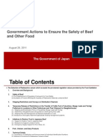 Government of Japan Actions to Ensure the Safety of Beefand Other Food August 29, 2011