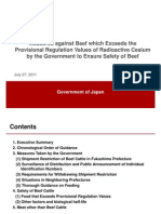Measures Against Beef Which Exceeds TheProvisional Regulation Values of Radioactive Cesiumby the Government to Ensure Safety of BeefJuly 27, 2011
