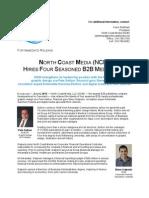 NORTH COAST MEDIA (NCM) HIRES FOUR SEASONED B2B MEDIA PROS