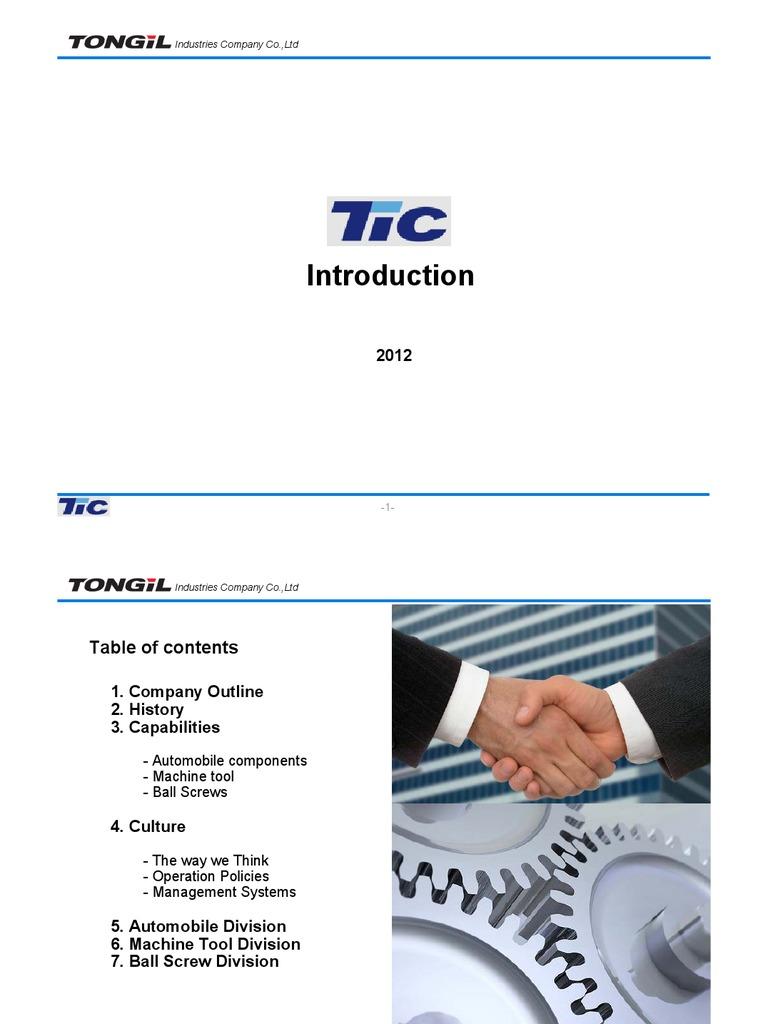 Introduction of TONGIL Industries Company Co , Ltd (Public
