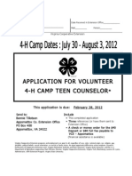 2012 4-H Camp Teen Counselor Application