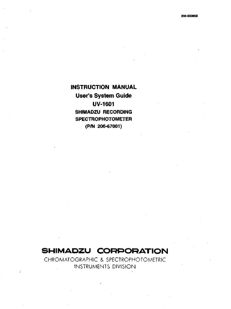 shimadzu uv1601 manual electrical connector spectrophotometry rh es scribd com