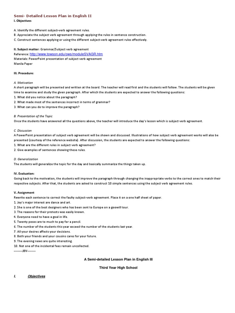 Sample Lesson Plan In Teaching Subject Verb Agreement Idea Gallery