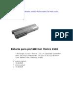 Batería para portátil Dell Vostro 1510