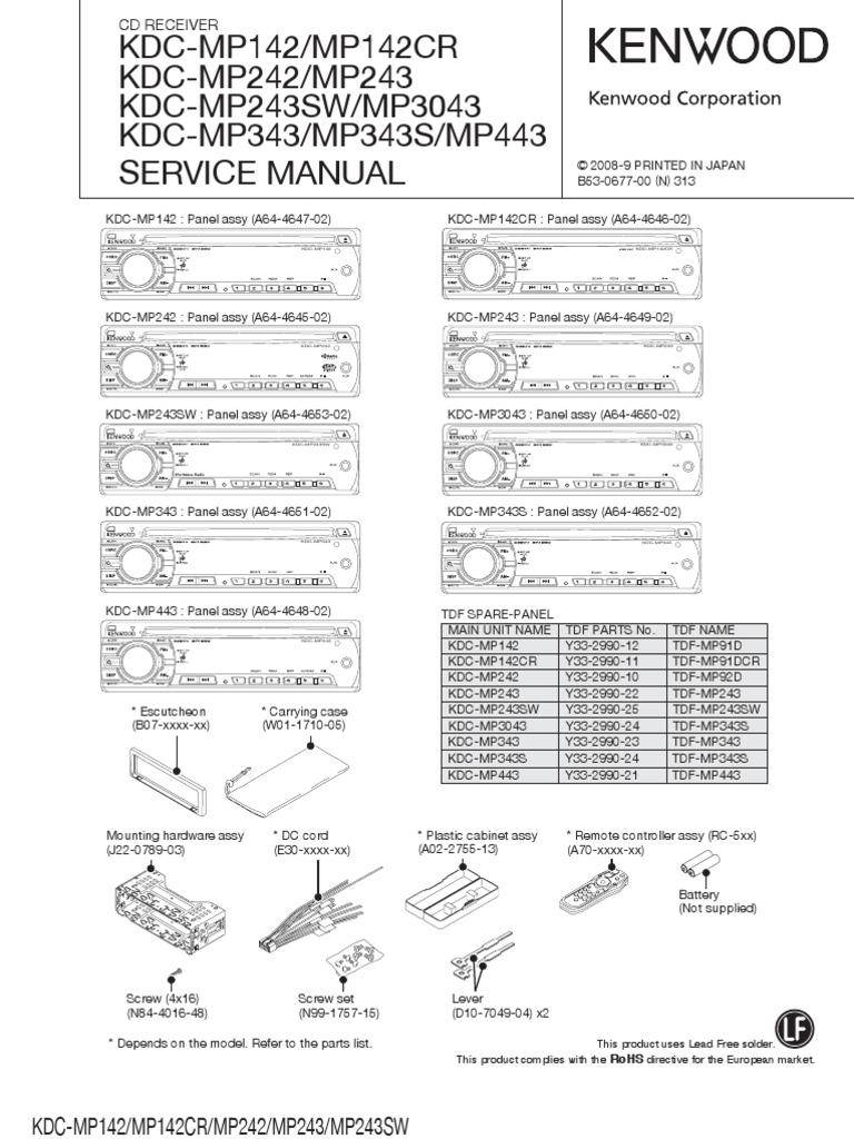 Kenwood Mp142Mp242Mp243Mp3043Mp343Mp443 – Kenwood Model Kdc-mp142 Wiring-diagram