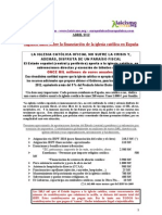Financiacion Estatal de la Iglesia enen 2012