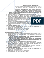 Dairy Import & Export Procedure