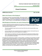 Closed Container Guidance