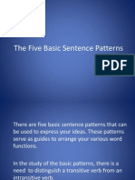 The Five Basic Sentence Patterns