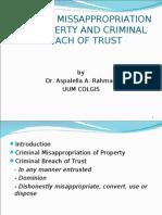 Criminal Misappropriation of Property