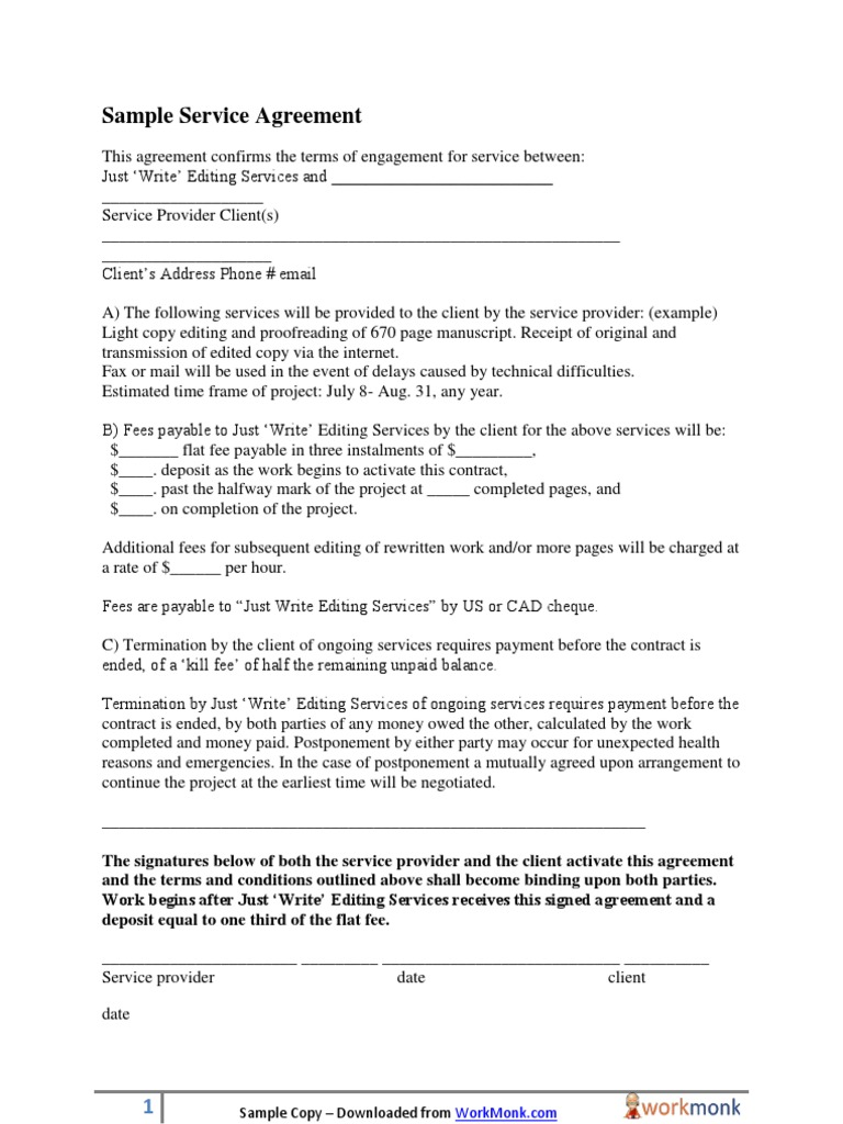 Sample Service Agreement Template