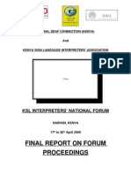 Final Report KSL Interpreters' National Forum 2008