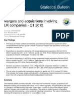 Mergers and acquisitions involving UK companies - Q1 2012