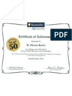 April 2012 - Smartest Doc Top 50 Family Physicians Certificate