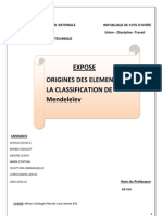 Origines Des differents  Eléments de la classification de mendeleiv