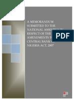CBN Act Amendment - CBN Memo to NASS - Proshare