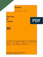 Para Leer El Capital III Jacques Ranciere