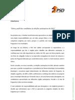 """""""Perfil dos candidatos às eleições autárquicas de 2013"""" do PSD Sintra"""