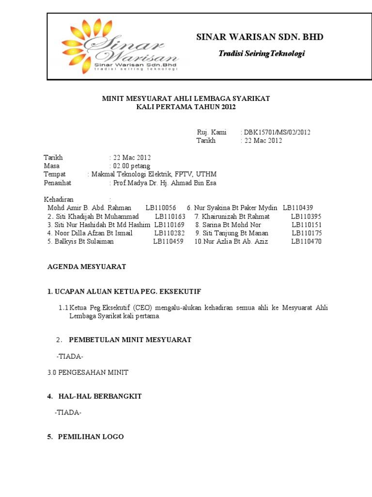 Minit Mesyuarat Ahli Lembaga Syarikat Kali Pertama 2012