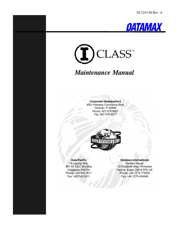 DATAMAX+I+Class+Parts+List%2C+Service+Manual   Printer (Computing ...