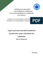 Controlul Transmiterii Parazitozelor GI Ale Cabalinelor