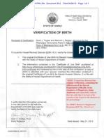 HI DOH Official Verification of President Obama's Hawaiian Birth - w Note