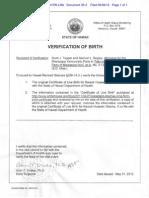HI DOH Official Verification of President Obama's Hawaiian Birth