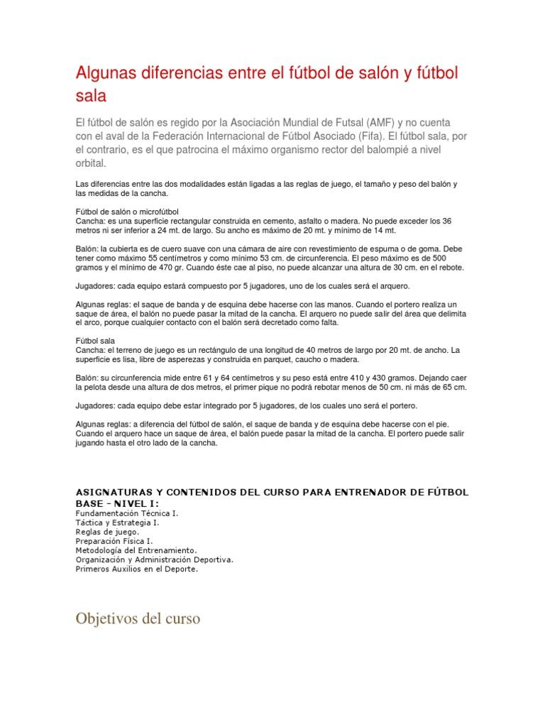 Fútbol Sala Reglamento Del Futbol Sala Pdf
