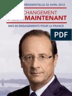 Projet Presidentiel Francois Hollande 60 engagements