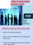 Role of Hrm in Managing Business Ethics