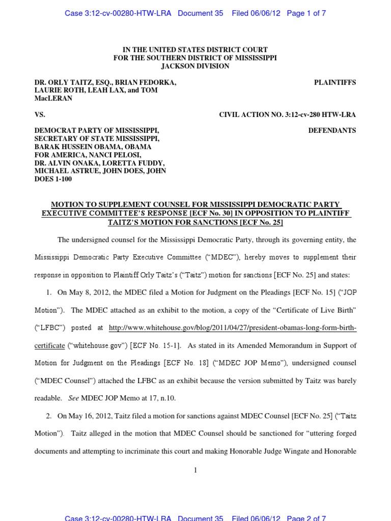Mississippi democratic party motion v taitz birth certificate mississippi democratic party motion v taitz birth certificate authentication aiddatafo Images