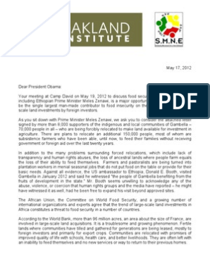 Oakland Institute: Obama Open Letter Ethiopia Land Grabs and
