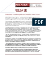 IR - Anishinaabe Chi-Naaknigewin Proclaimed by Grand Council