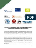 Declaración de la audiencia pública sobre derechos humanos en el Bajo Aguán, Honduras