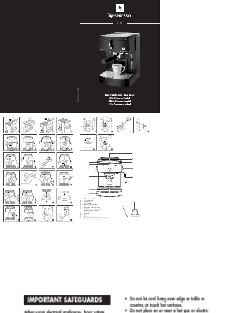 d150 instruction manual ac power plugs and sockets electrical rh pt scribd com Nespresso D150 Parts Nespresso Machine D150