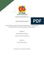 EVALUACION DEL ESTADO NUTRICIO EN ALUMNOS DE 6 A 13  AÑOS DE EDAD PERTENECIENTES A LA ESCUELA URBANA 02 BASILIO VADILLO