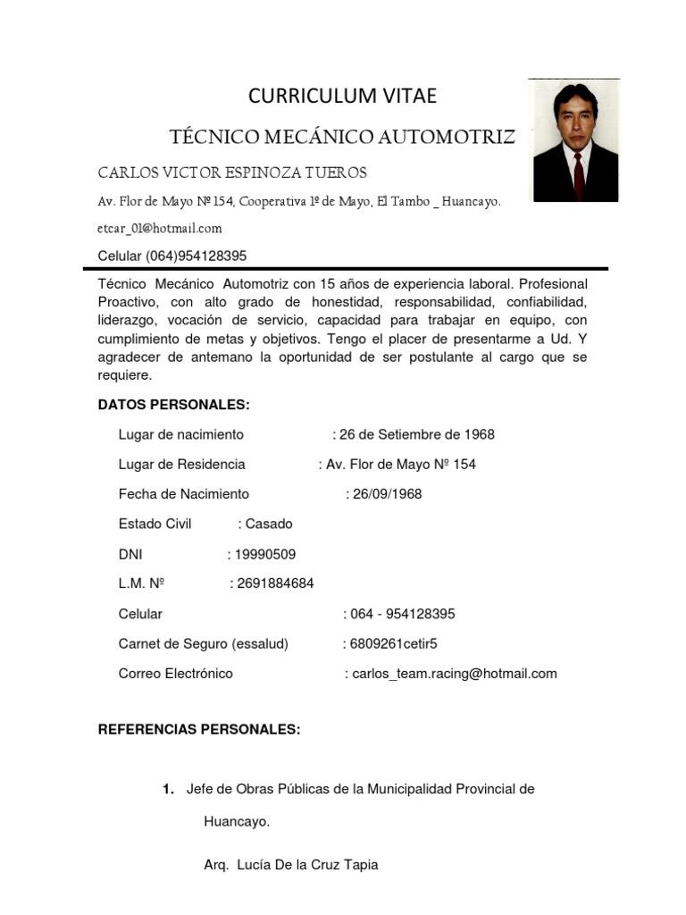 Excepcional Ingeniero De Mantenimiento Mecánico Curriculum Vitae Pdf ...