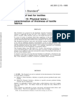 As 2001.2.15-1989 Methods of Test for Textiles Physical Tests - Determination of Thickness of Textile Fabrics